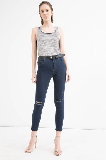 Two-tone top with round neck, Black, hi-res