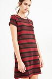 Short striped dress in viscose, Black/Red, hi-res