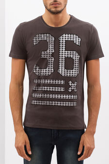 T-shirt with printed lettering, Dark Grey, hi-res