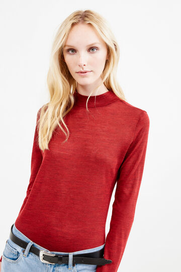 Solid colour wool blend turtleneck jumper, Red, hi-res