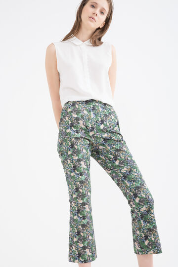 Printed stretch cotton trousers, Multicolour, hi-res
