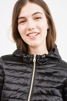 Lightweight down jacket with hood, Black, hi-res