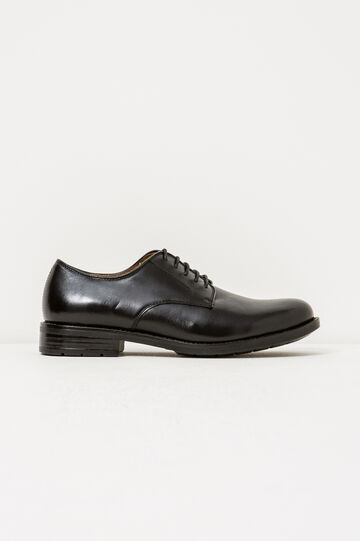 Real leather derby-style shoes, Black, hi-res