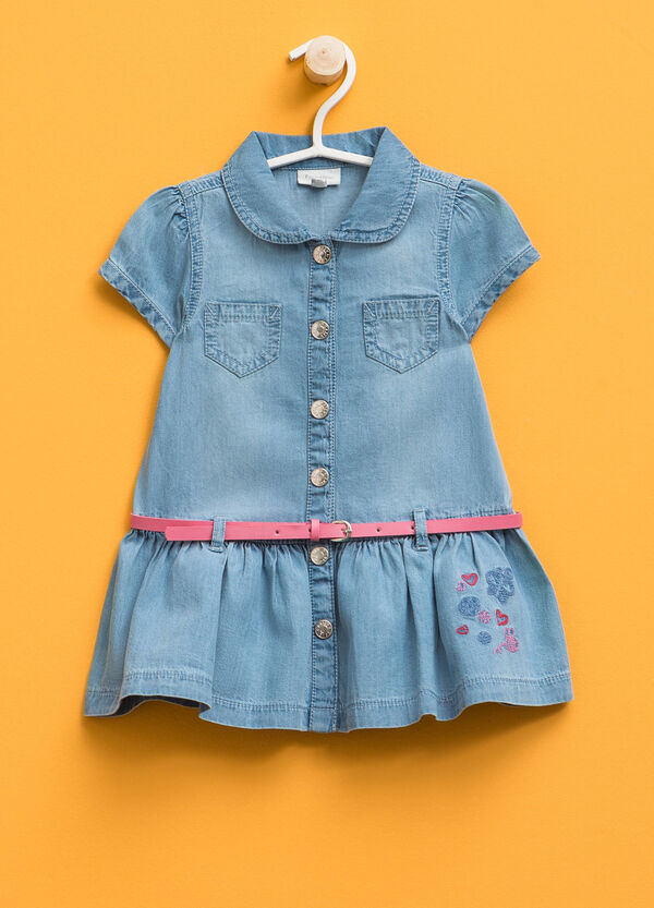 Denim dress with belt and embroidery | OVS