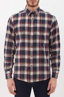 Check shirt in 100% cotton, Black/Red, hi-res