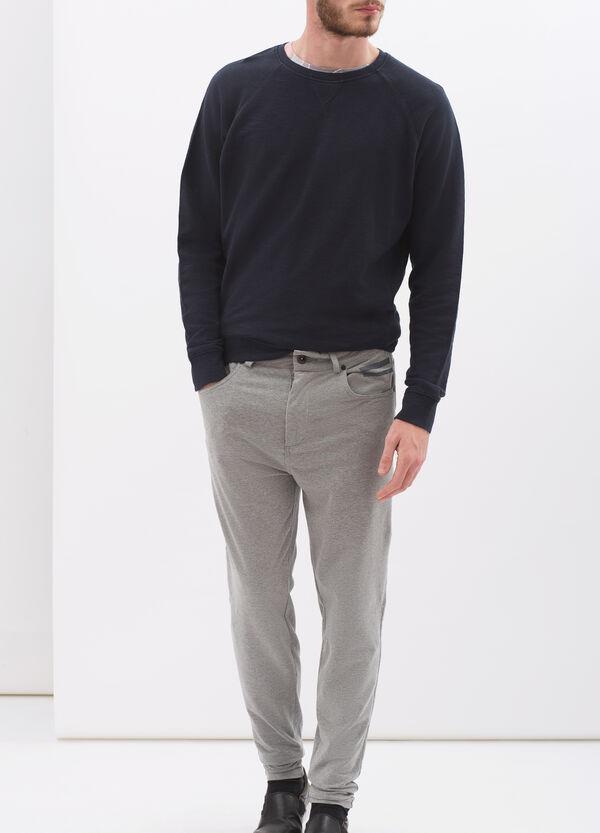 Denim-cut trousers in stretch fleece | OVS