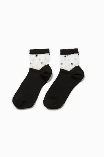 Short socks with polka dot upper section