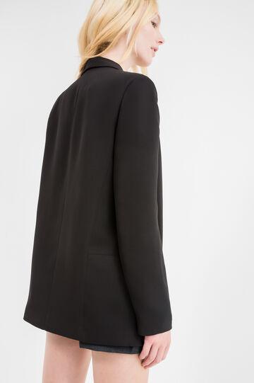 Elegant long jacket with lapels, Black, hi-res