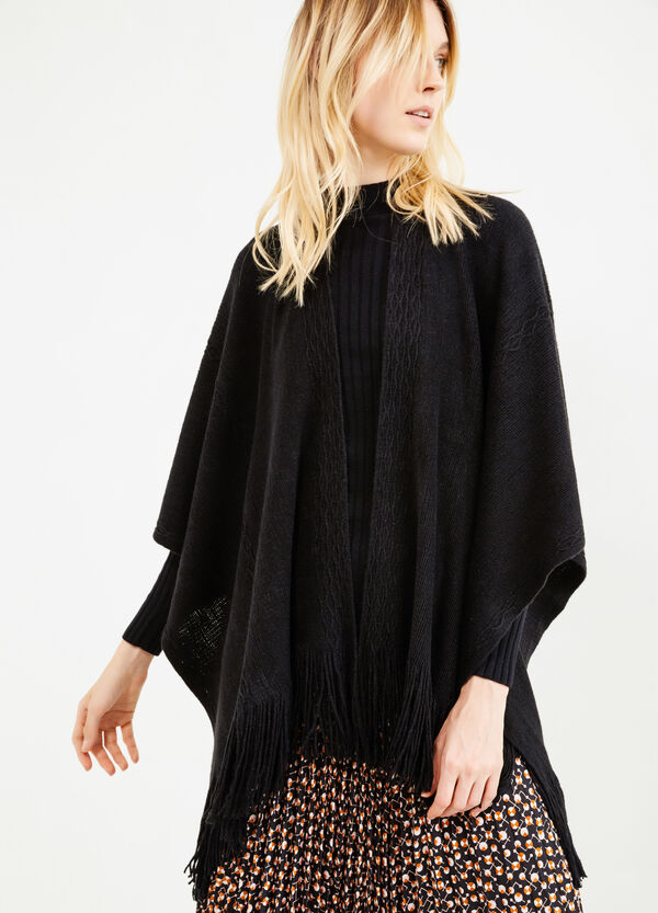 Knitted poncho with solid colour fringing | OVS