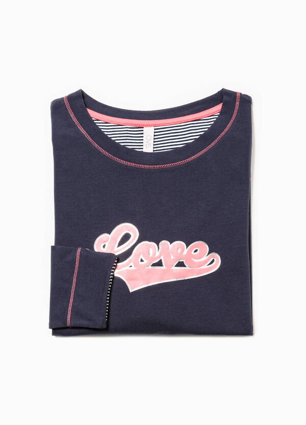 Pyjama top with printed lettering | OVS