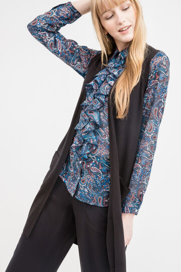 Long viscose blend sleeveless cardigan., Black, hi-res