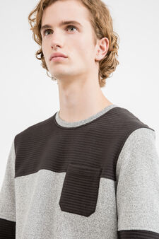 Cotton blend sweatshirt with stitching, Black/White, hi-res