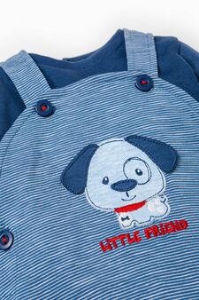 Striped sweatshirt and dungaree set, Navy Blue, hi-res