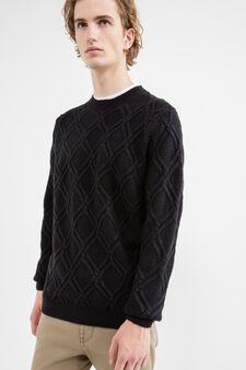 Pullover lavorato tricot scollo rotondo, Blu navy, hi-res