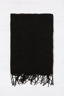 Solid colour pleated scarf, Black, hi-res