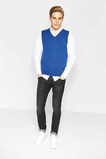 Gilet tricot in puro cotone scollo a V, Blu chambray, hi-res