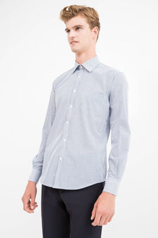 Striped slim-fit formal shirt, White/Blue, hi-res