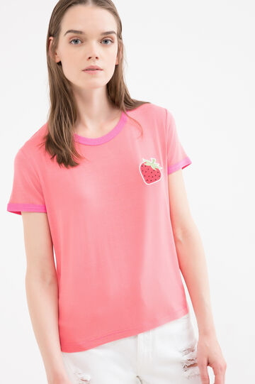Stretch viscose T-shirt with patch, Fuchsia, hi-res