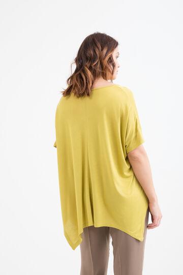 T-shirt tinta unita in cotone Curvy, Giallo, hi-res