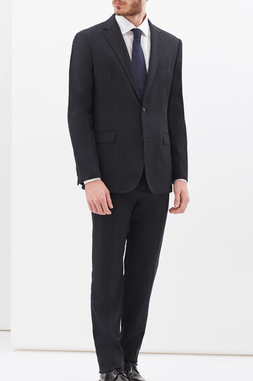 Solid colour elegant suit in regular fit, Dark Blue, hi-res