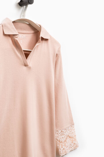 Smart Basic polo shirt with lace at the cuffs, Powder Pink, hi-res