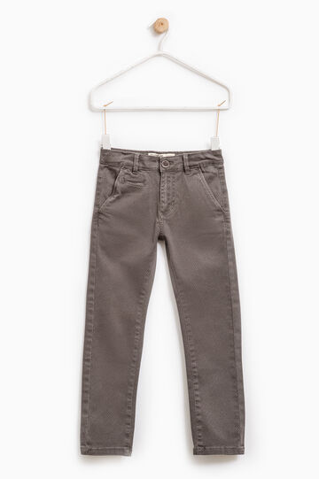 Chinos with all-over print, Brown, hi-res