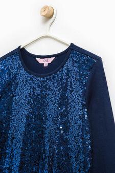 Stretch cotton dress with sequins, Soft Blue, hi-res