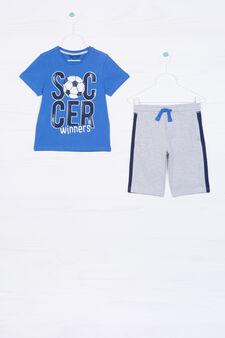 Printed T-shirt and Bermuda shorts set, Light blue/Grey, hi-res