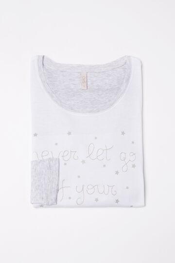 100% cotton pyjama top, White/Grey, hi-res