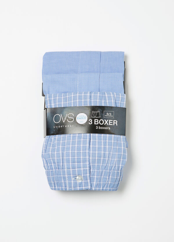 Three-pack printed cotton boxer shorts | OVS