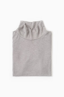 Viscose undervest with high neck, Grey, hi-res