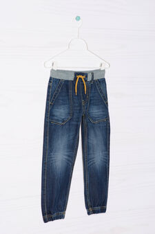 Worn-effect jeans with drawstring, Dark Wash, hi-res