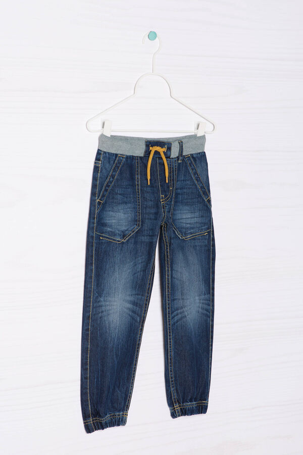 Worn-effect jeans with drawstring | OVS