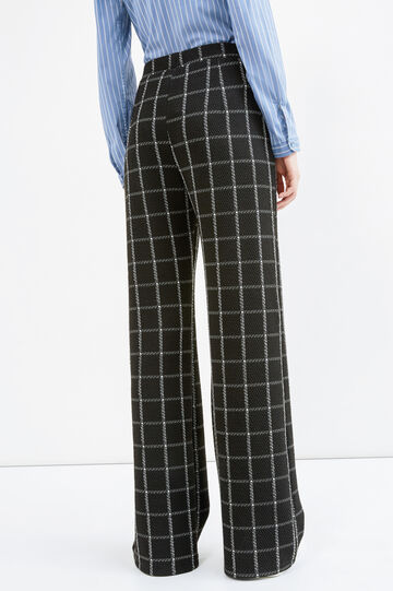 Check patterned palazzo trousers, Black/White, hi-res