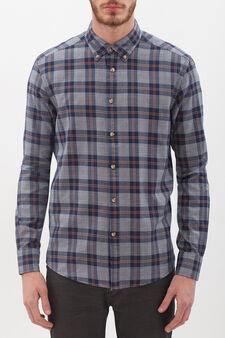 100% cotton check shirt, White/Blue, hi-res