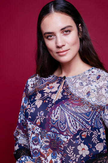 Curvy blouse with lace sleeves, Multicolour, hi-res