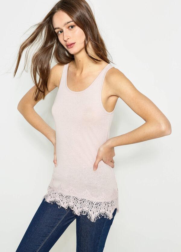 Top en algodón 100% con encaje | OVS