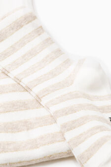 Two-pair pack solid colour and striped tights, Cream White, hi-res