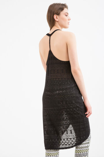 Openwork cotton dress by Maui and Sons, Black, hi-res