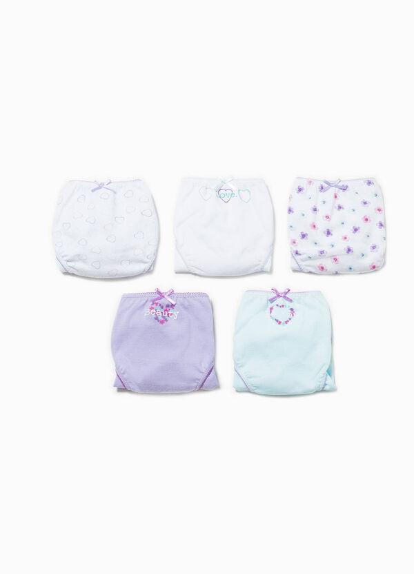 Pack de cinco braguitas en color liso y con estampado | OVS