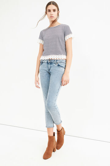 Jeans crop skinny fit stretch effetto used, Lavaggio medio, hi-res