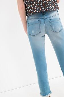 Slim-fit, cropped stretch jeans, Medium Wash, hi-res