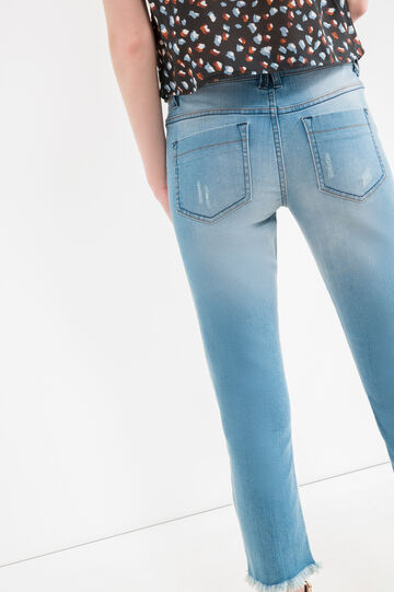 Slim-fit, cropped stretch jeans, Medium Wash, hi-res