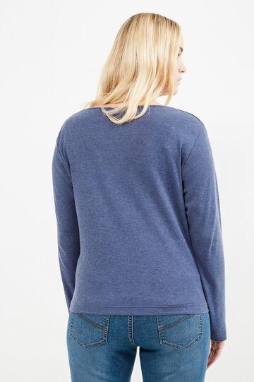 T-shirt puro cotone finto doppio Curvy, Blu melange, hi-res