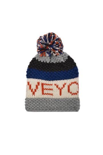 Cappello a cuffia tricot con pon pon, Multicolor, hi-res