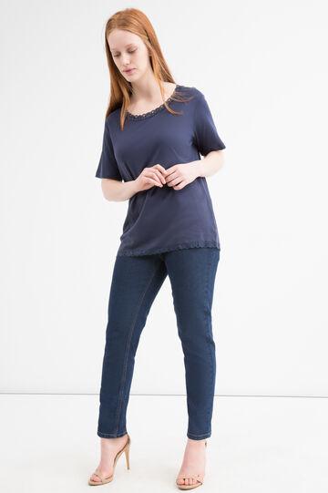 T-shirt puro cotone con pizzo Curvy, Blu navy, hi-res