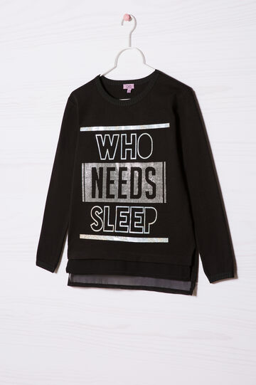 100% cotton sweatshirt with printed lettering, Black, hi-res