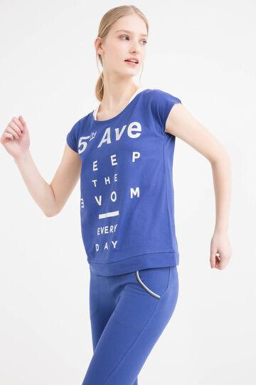 Cotton blend gym T-shirt., Blue, hi-res
