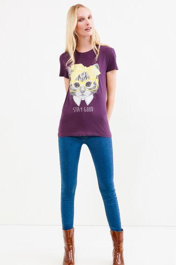 T-shirt puro cotone con stampa, Viola, hi-res
