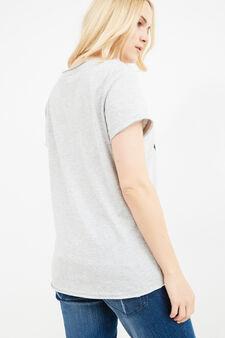 Curvy Hello Kitty print T-shirt, Grey Marl, hi-res